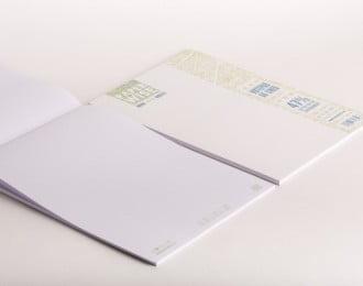 PaperWise Schreibblock A4 weißes Deckblatt weißes Papier 80 g/m² 50 Blatt 5 Notizblöcke