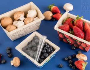 PaperWise eco friendly paper compostable board bio plastic topseal food tray organic fruit vegetable packaging