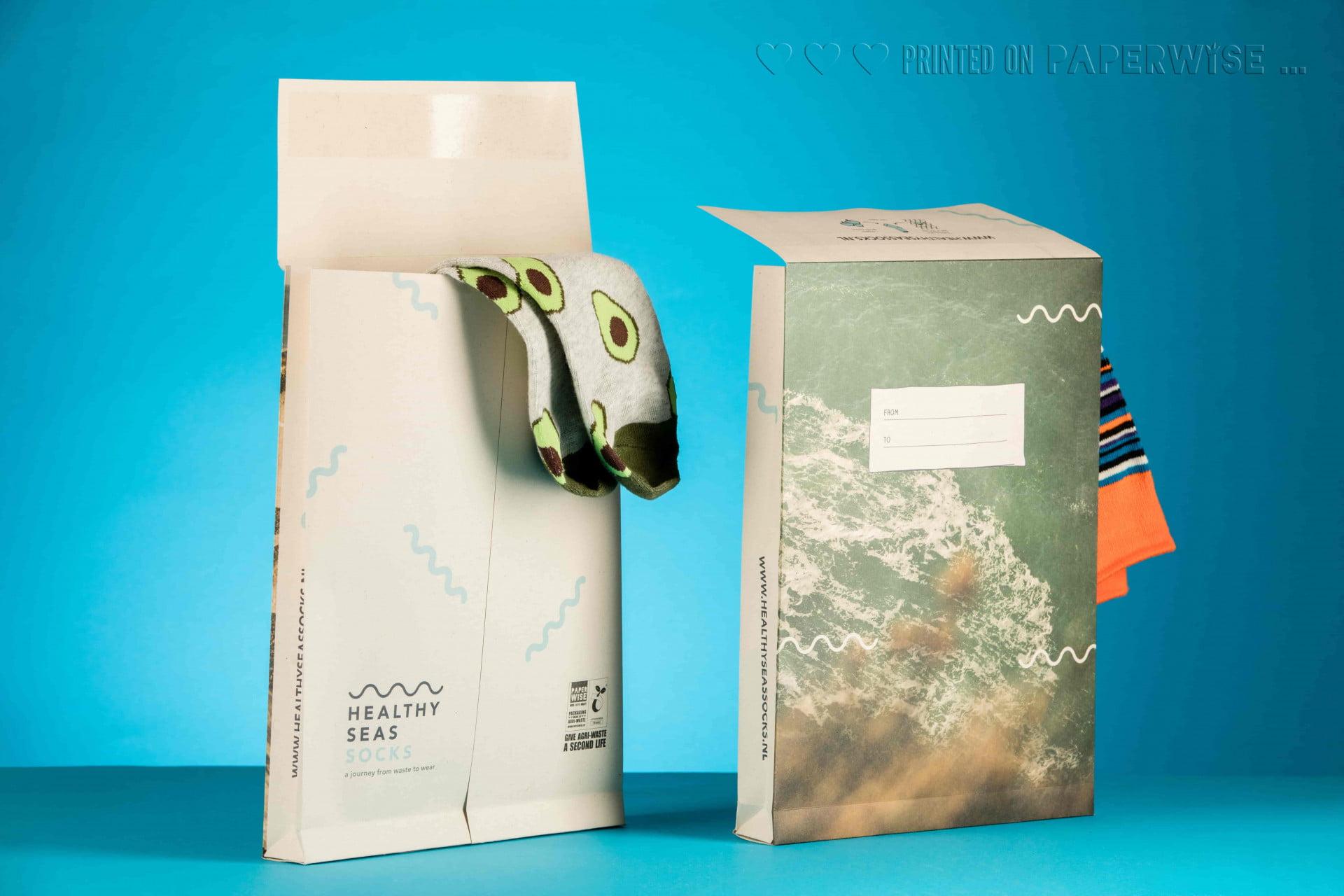 PaperWise eco friendly paper mailing envelope Healthy Seas Socks sustainable packaging